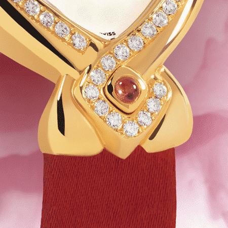 Besten Luxusuhren für die Frau: Infinity gold Satin: Golduhr mit 50 Diamanten, Zifferblatt Perlmutter weiss, vergoldete Hände, Goldcabochon mit einem Rubin, Armband Satin rot