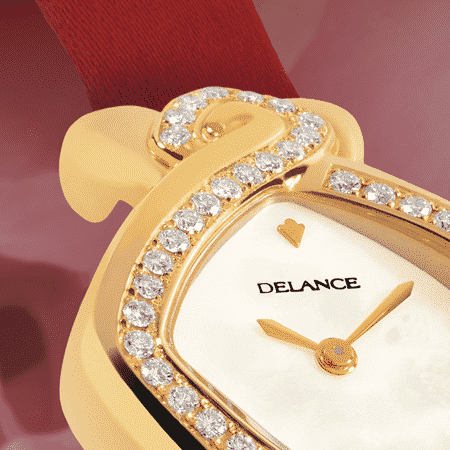 Luxury wrist watches for women - Infinity gold satin : Gold watch set with 50 diamonds, white mother-of pearl dial, gold-plated hands, gold cabochon with a ruby, red satin strap