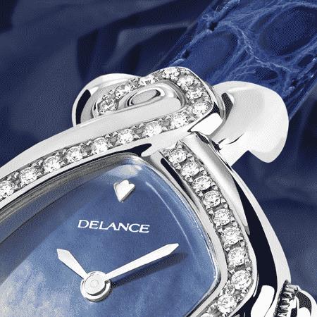 Besten Luxusuhren für die Frau: Infinity steel alligator: Stahlduhr mit 50 Diamanten, Zifferblatt Perlmutter blau, vernickelte Hände, Stahlcabochon, Armband aus Alligator blau