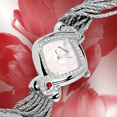 luxury wrist watches for women - Infinity steel cascade: Steel watch set with 50 diamonds, white mother-of pearl dial, nickel-plated hands, steel cabochon with a ruby, silver cascade bracelet