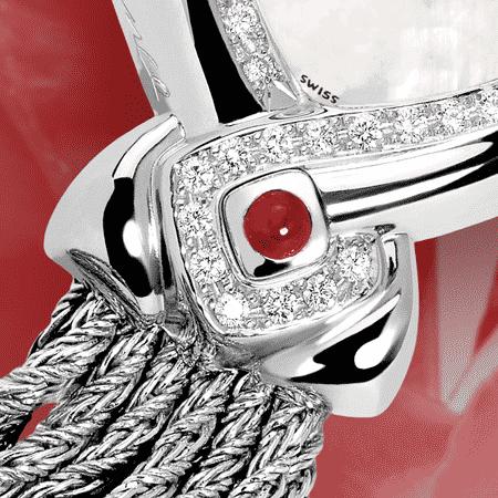 Besten Luxusuhren für die Frau: Infinity steel cascade : Stahlduhr mit 50 Diamanten, Zifferblatt Perlmutter weiss, vernickelte Hände, Stahlcabochon mit Rubin, Armband Cascade aus Silber