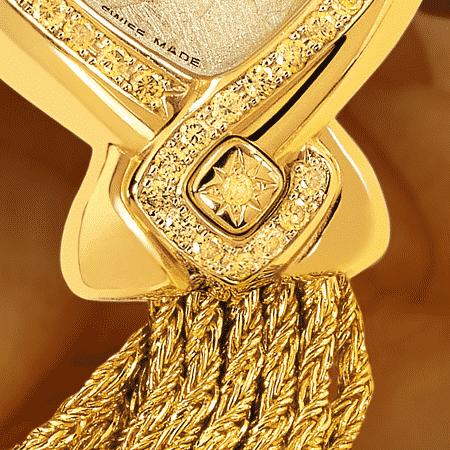 Besten Luxusuhren für die Frau: Jonquille: Golduhr mit 50 gelben Diamanten, Luz Zifferblatt, vergoldete Hände, Goldcabochon mit einem gelben Diamant, Goldarmband Cascade