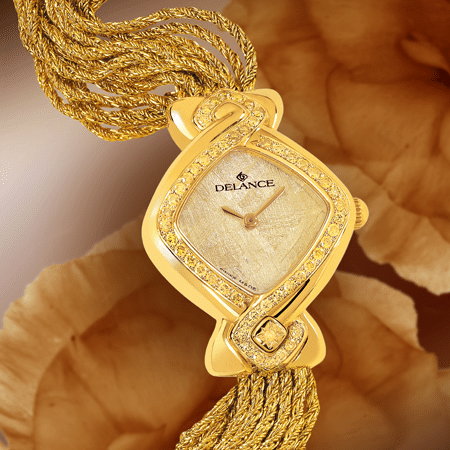luxury wrist watches for women - Jonquille: Gold watch set with 50 yellow diamonds, special yellow luz dial, gold-plated hands, gold cabochon with a yellow diamond, yellow gold cascade bracelet