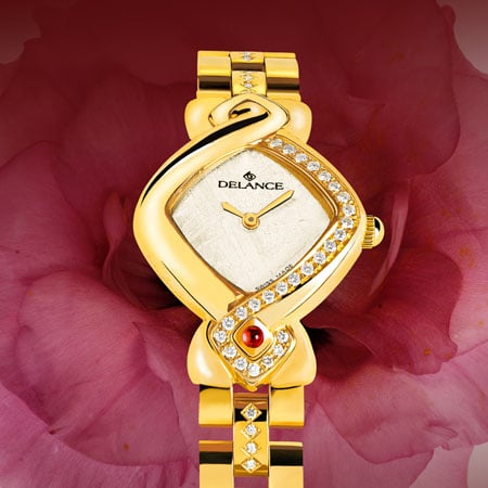 White watches for women - Just 25: Pink gold watch set with 25 diamonds, white mother-of-pearl dial, gold-plated hands, gold cabochon with a ruby, bracelet of gold links set with 24 diamonds