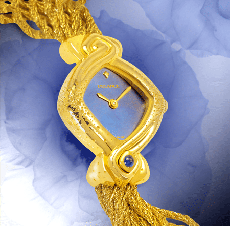 Wedding watch - Myriade: Gold watch, engraved, blue mother-of pearl dial, gold-plated hands, gold cabochon with a sapphire, yellow gold cascade bracelet