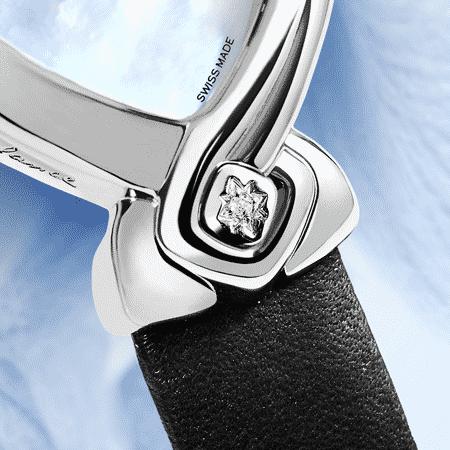 Originelle Armbanduhren für Frauen: Origine: Stahluhr, Zifferblatt Perlmutter weiss, vernickelte Hände, Stahlcabochon mit einem Diamanten, Lederarmbanduhr schwarz
