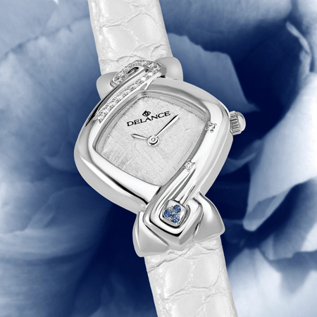 wedding watch - Something blue: Steel watch set with 16 diamonds, white luz dial, nickel-plated hands, steel cabochon with 3 sapphires, white alligator strap