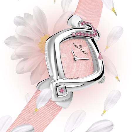 Valentine : Montre étanche en acier sertie de 17 saphirs roses, nacre en luz flamingo, aiguilles nickelées, cabochon en acier avec un saphir rose, bracelet en satin rose