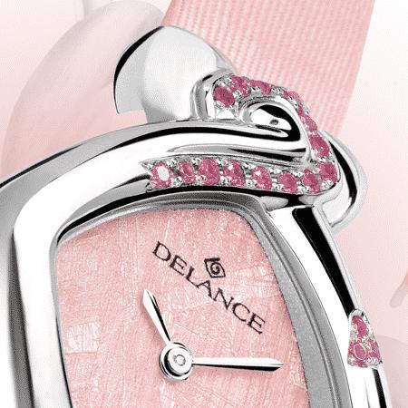 Romantische Armbanduhr für Frauen: Valentine: Wasserdichte Uhr für Frau mit 17 Saphiren , Perlmutter, vernickelte Hände, Stahlcabochon mit einem rosa Saphir, Armband Satin
