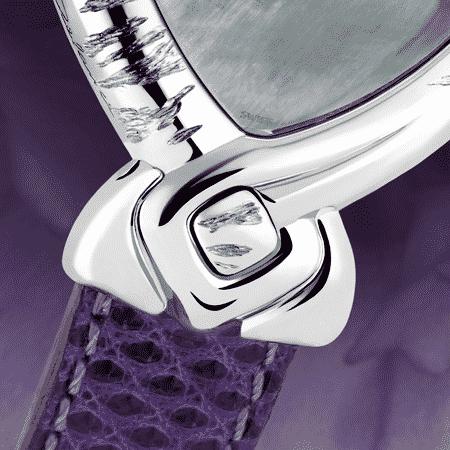 Besondere Uhr für besondere Frauen: Violet: Stahlduhr mit einer Amethyst, Perlmutter Zifferblatt, vernickelte Hände, Stahlcabochon, Armband aus Eidechse