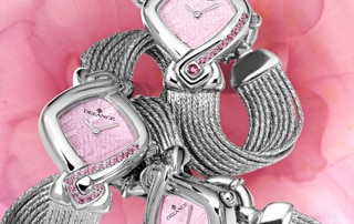 pink women watches - La vie en rose: Steel watch set with 17 pink sapphires, special pink luz dial, nickel-plated hands, gold cabochon, silver cascade bracelet