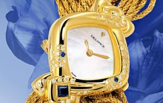 """""""Sa montre DELANCE """"""""Aïda"""""""" lui ressemble, lui parle d'elle et de ses amours. Elle est le miroir de son âme. Chaque élément a été choisi avec art et raffinement et signifie quelque chose d'important."""