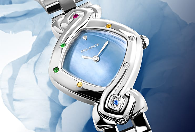 original womens watch - Feng Shui Ocean: Steel watch set with 7 precious stones, blue mother-of pearl dial, nickel-plated hands, steel cabochon with a sapphire in the form oof the star, steel links bracelet