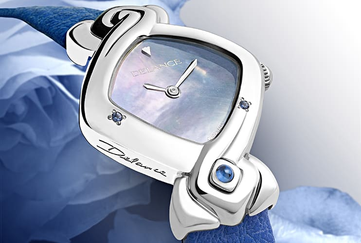 """For a mother. This delicate creation charms the wearer by its purity and simplicity. The DELANCE """"Kate"""" honors Catherine, the Duchesse of Cambridge. You can create a personal Delance watch with a precious stone at the hour of your birth for your mother."""