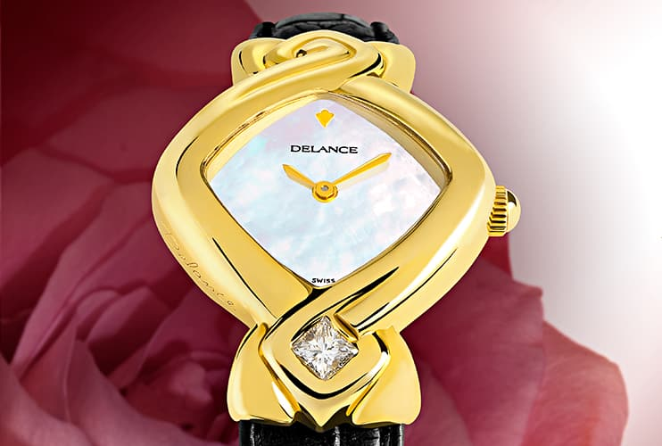 feminine wrist watches - Simplicity Princesse: Gold watch, white mother-of pearl dial, gold-plated hands, gold cabochon with a diamond, black alligator strap