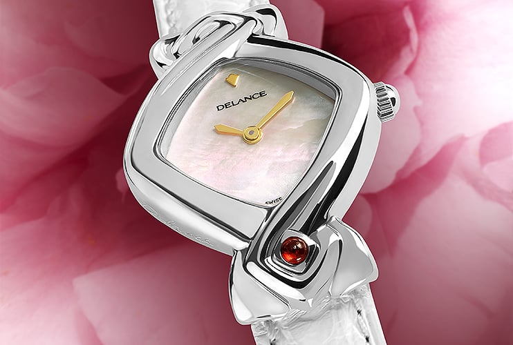 White watches for women - White Lily: Steel watch, white mother-of-pearl dial, gold-plated hands, gold cabochon with a ruby, white alligator strap