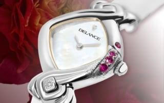 Oceane: Damen StahlUhr, graviert, mit 4 Rubine, Diamant bei 6 Uhr, Ziffernblatt aus Perlmutt weiß.
